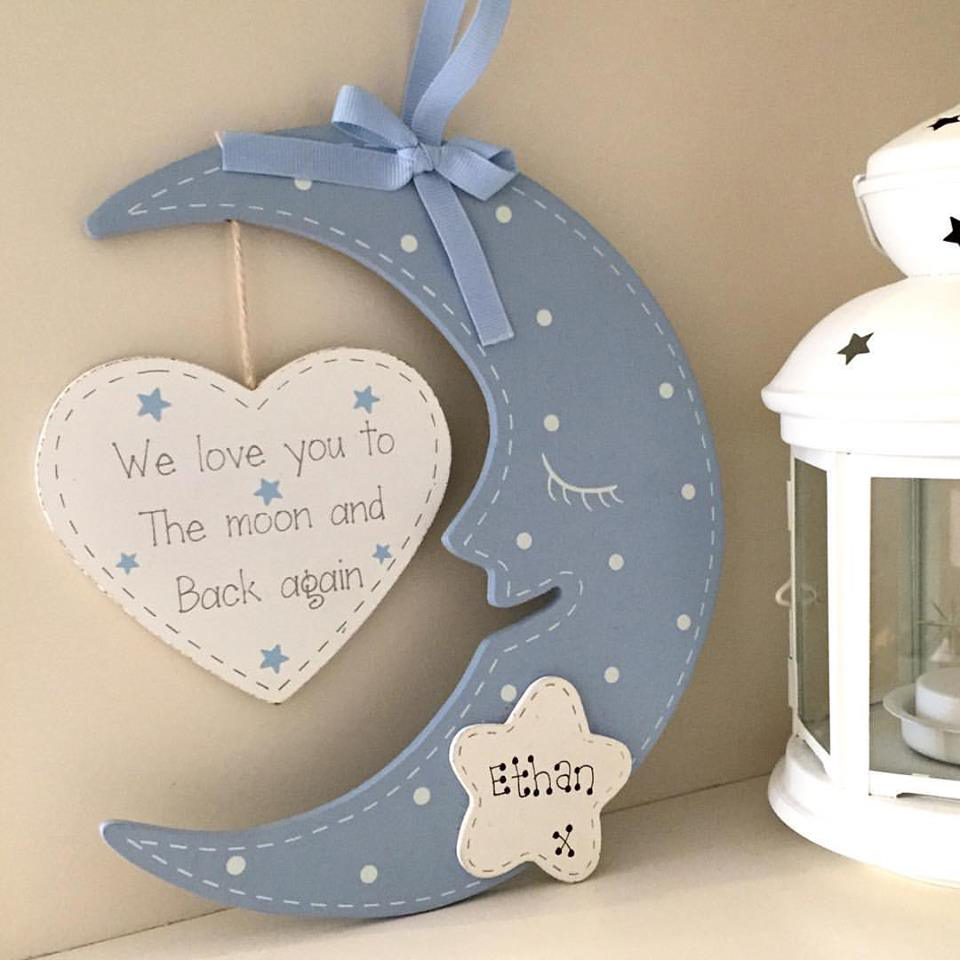 personalised hanging blue moon