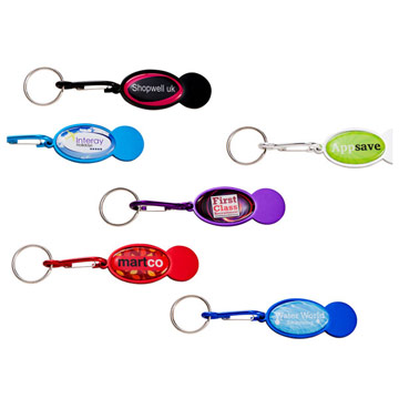 Shopper Trolley Coin Keyring / Promotional product fully customized  to your requirement UK Supplier