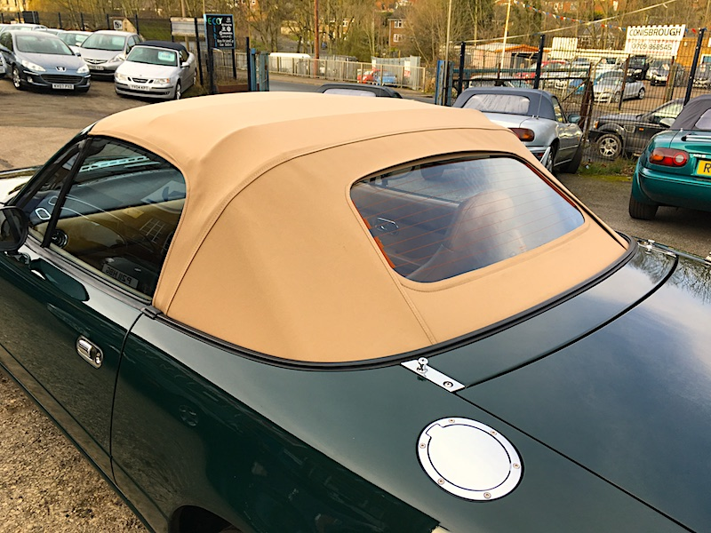 Mazda MX5 Tan Mohair hood with heated glass rear screen.