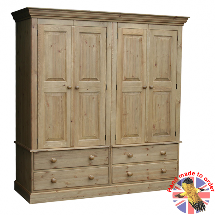Cottage Pine 4 Drawer Combi Wardrobe