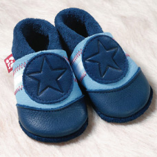 Supersoft Leather Baby Slippers - Bluestar