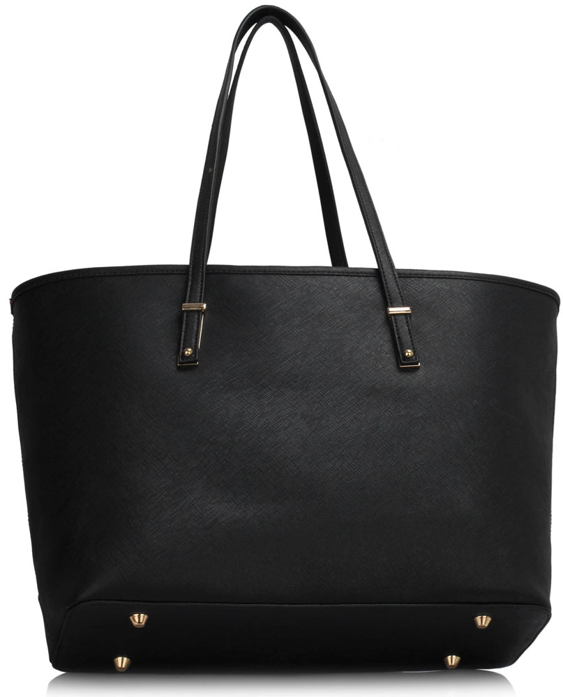 Vegan Leather Shopper Tote Black