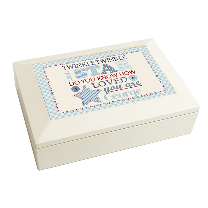 blue personalised twinkle jewellery box