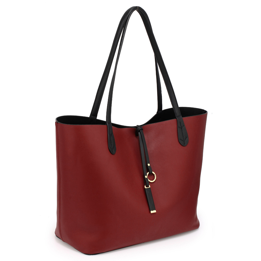 Vegan Leather Reversible Shopper Tote  Burgundy