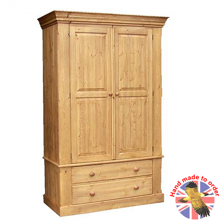 Cottage Pine 2 Drawer Double Wardrobe