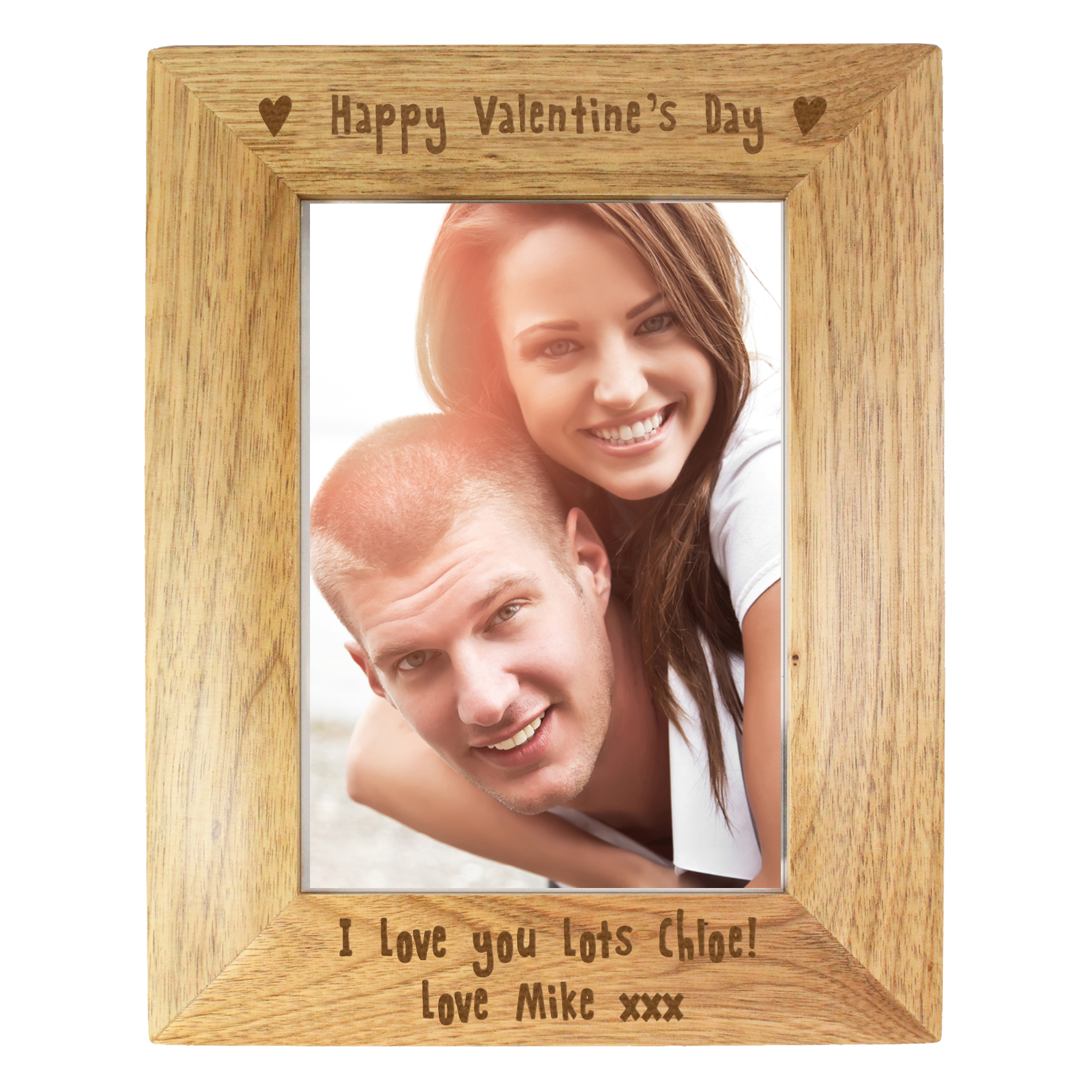 happy valentines day wooden frame
