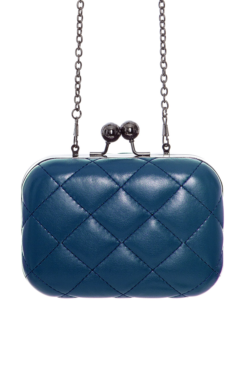 Quilted Box Clutch Bag - Blue Front