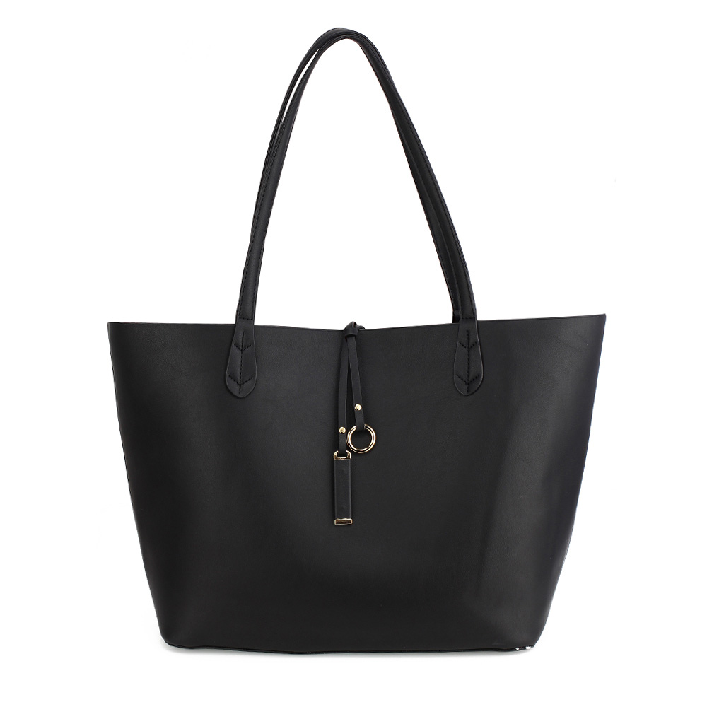 Vegan Leather Reversible Shopper Tote Black
