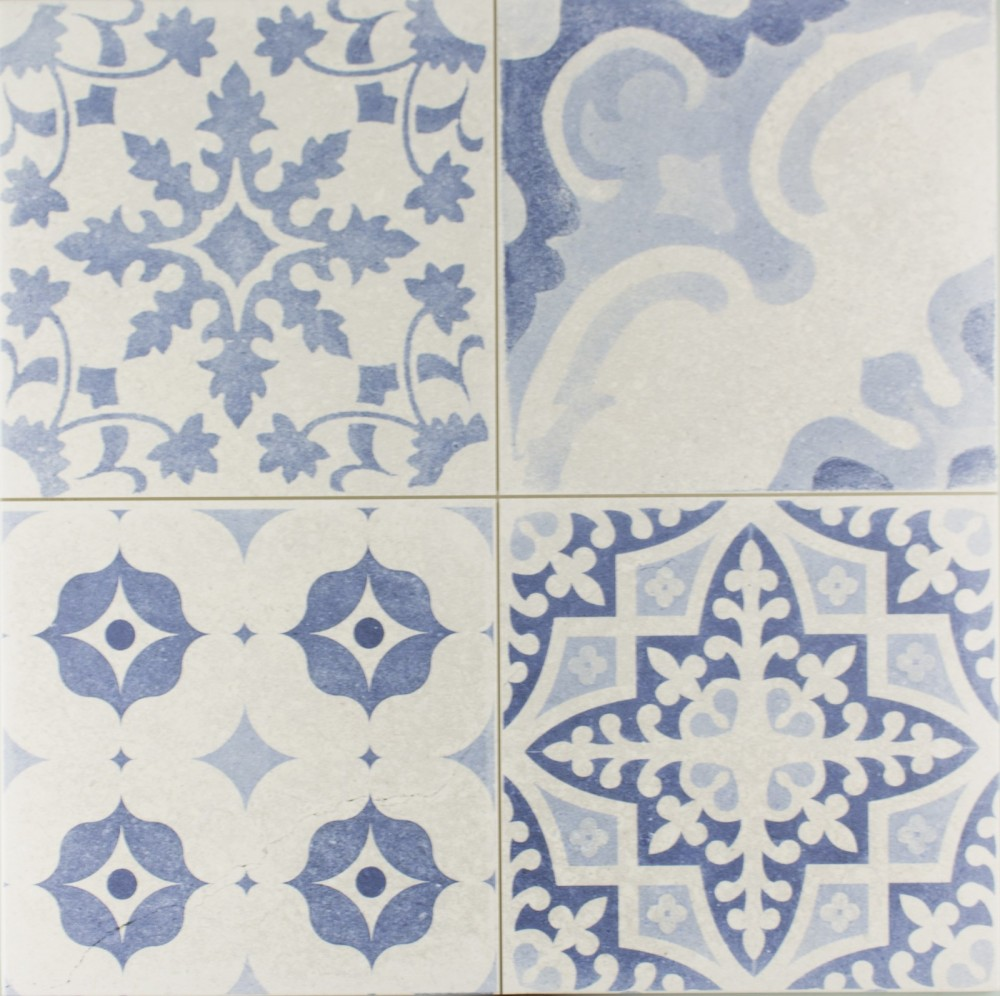 Patchwork Tapestry Blue Floor Tiles 44 x 44 cm