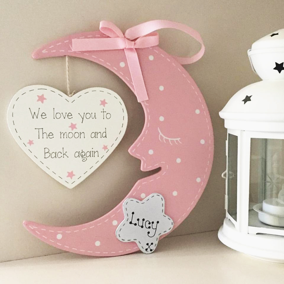 personalised hanging pink moon