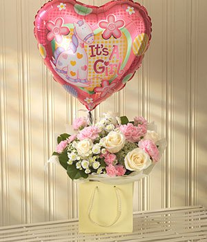 Baby girl lullaby flowers with balloon