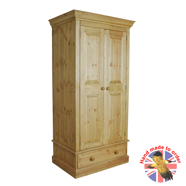Cottage Pine 2 Door 1 Drawer Wardrobe