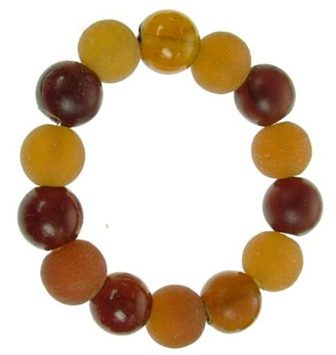 Chunky Recycled Glass Bead Bracelet - Amber