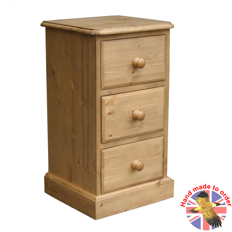 Cottage Pine Small 3 Drawer Bedside