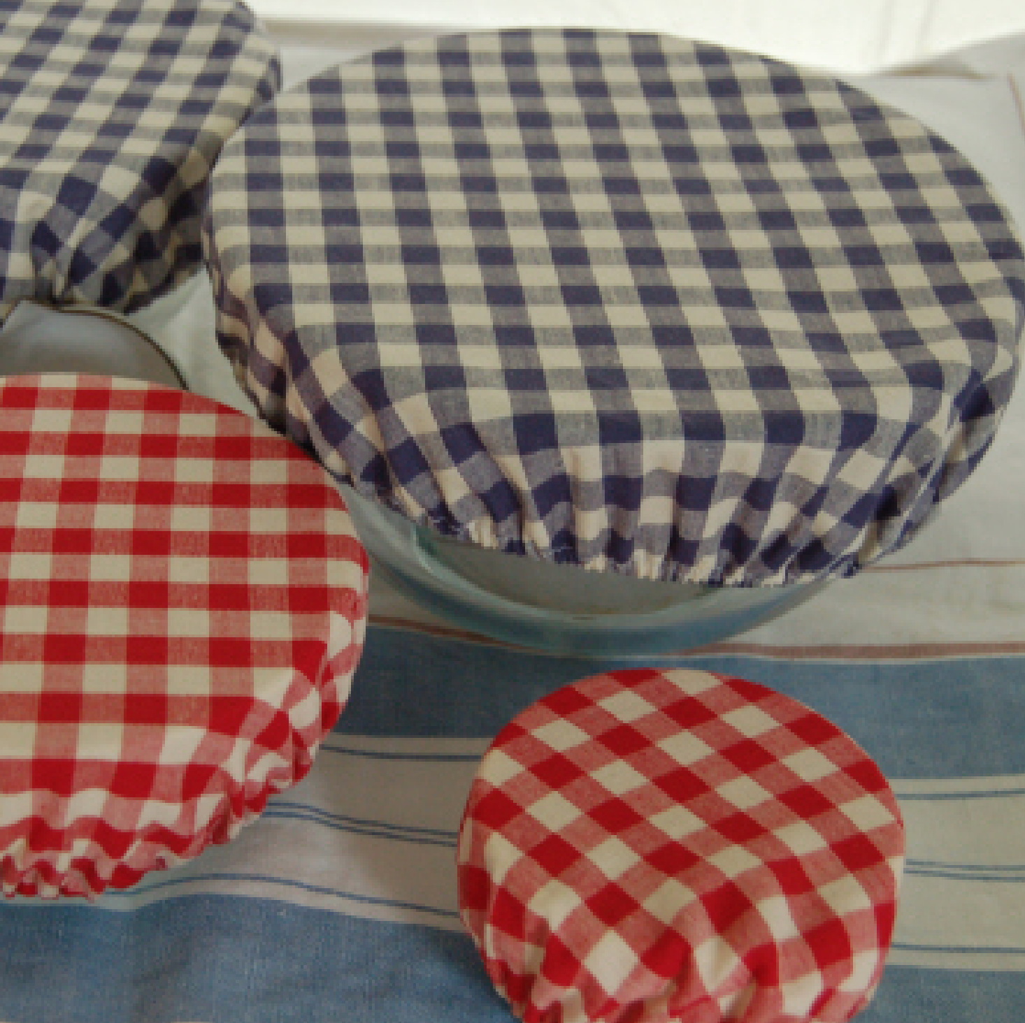 Cotton Gingham Bowl Covers - Set of 6 in 2 colours and 3 sizes.