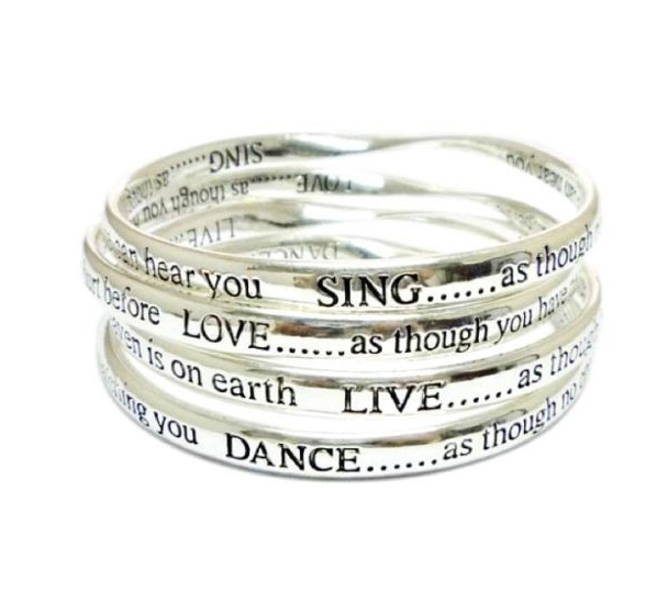 set of 4 silver inspirational bangles