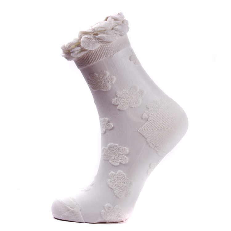 Floral Anklet Socks - White