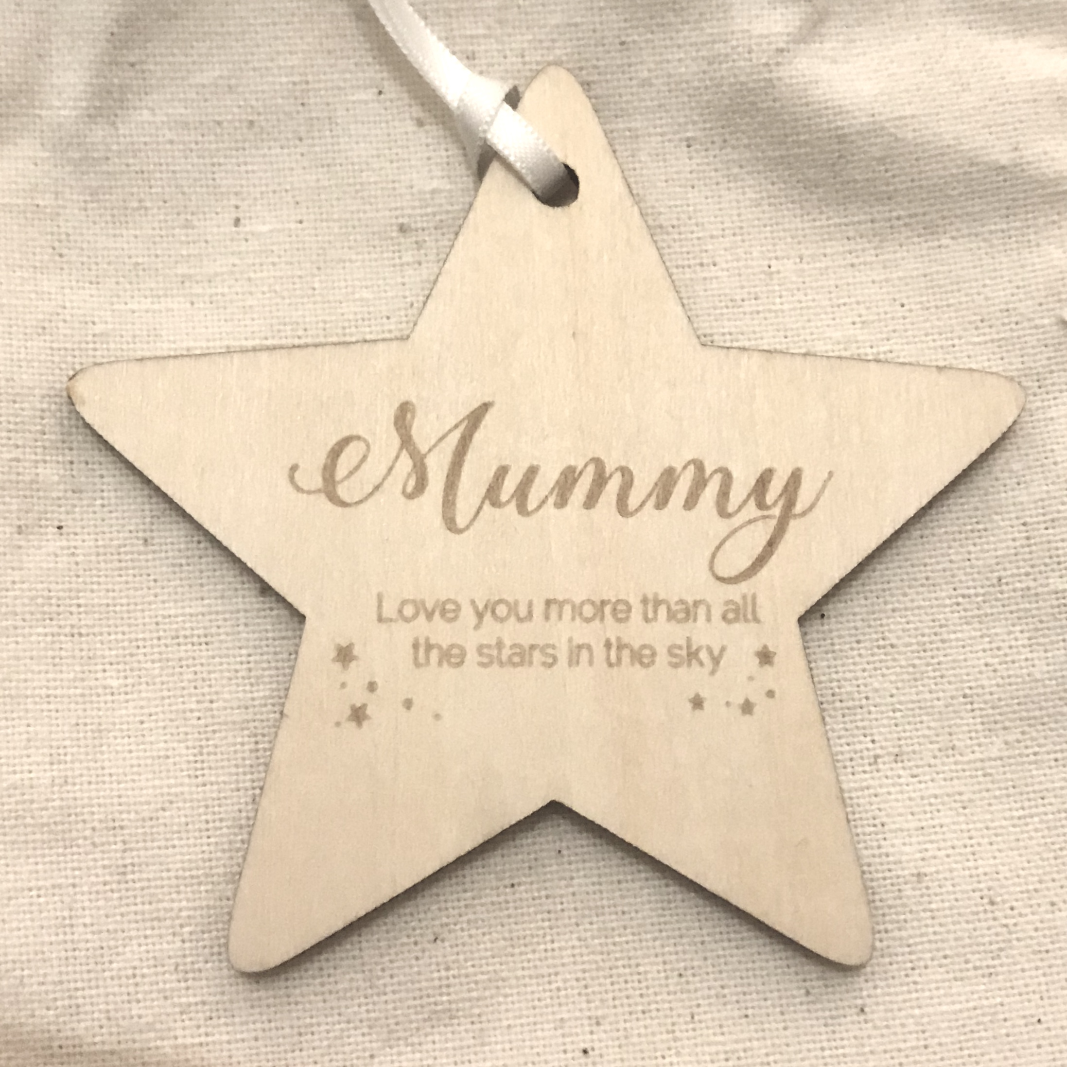 Wooden star MUMMY decoration