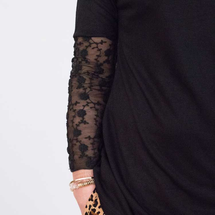 Lace Sleeve Tee - Black Close Up