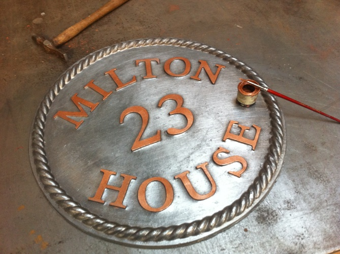 Lead House Sign Round 30cm dia