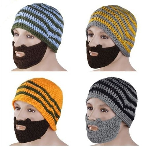 Funky Knitted Beard Beanie Hat / Promotional product fully customized  to your requirement UK Supplier