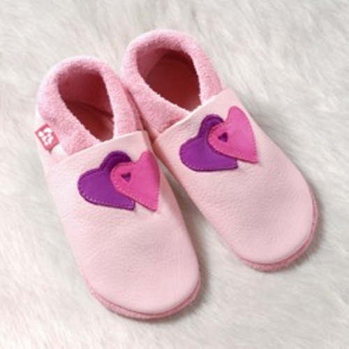 Supersoft Girls Leather Slippers - Double Heart