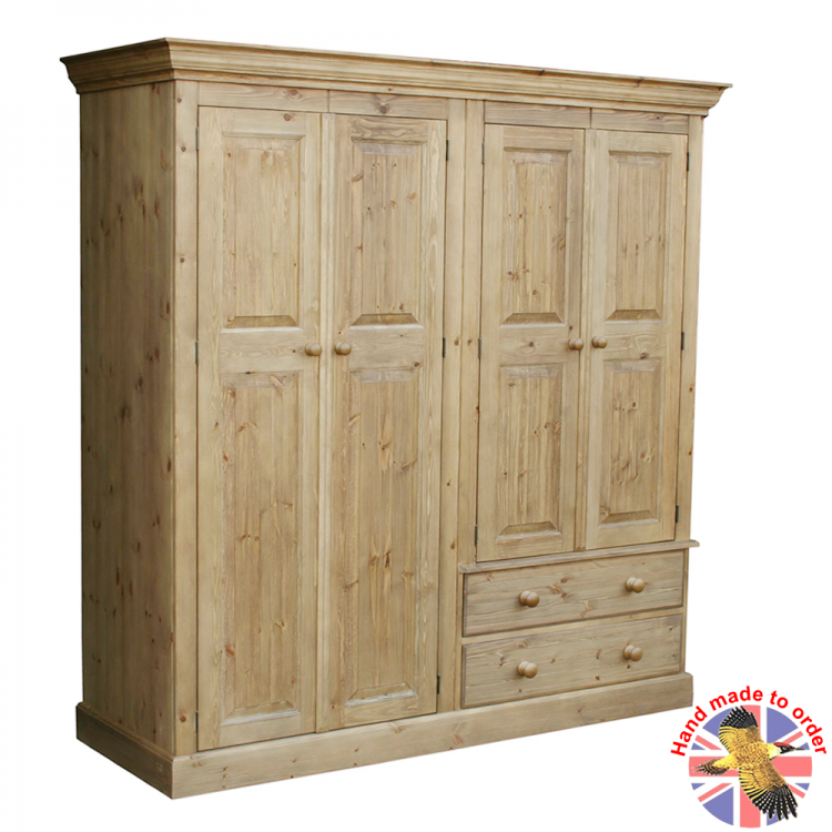 Cottage Pine 2 Drawer Combi Wardrobe