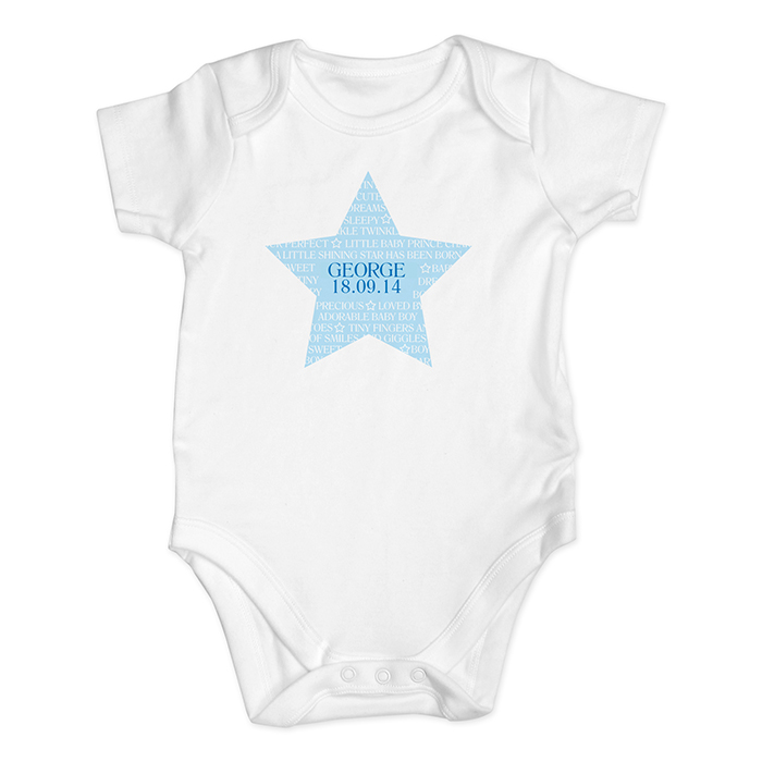 blue shining star baby vest