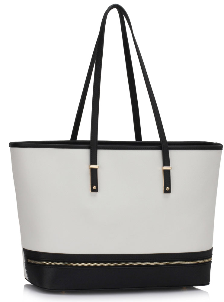 Vegan Leather Shopper Tote White