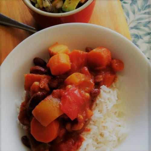 Roast Vegetable and Three Bean Chilli