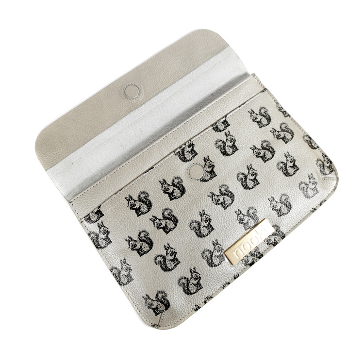 Nooki Suzy Squirrel Clutch Bag Open - Silver