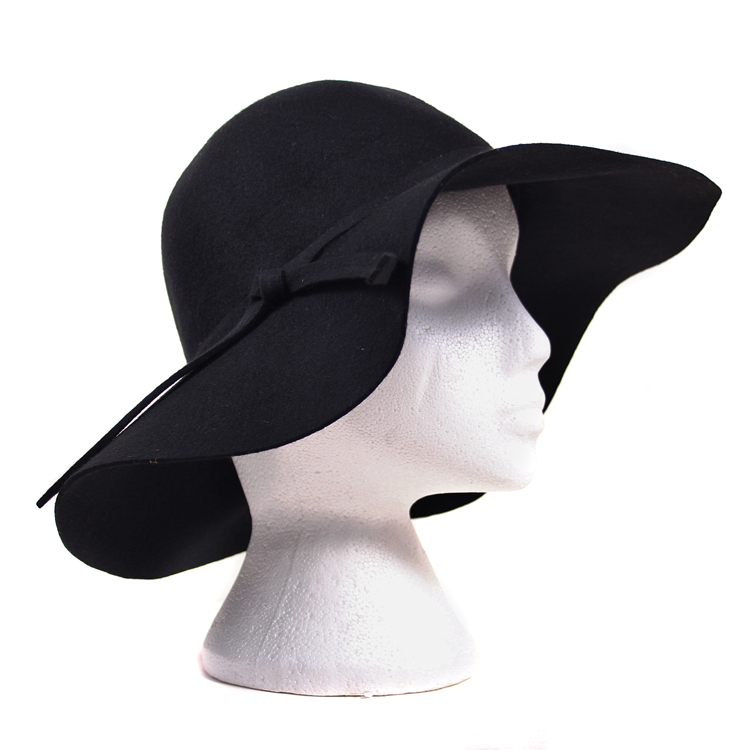 Wide Brimmed Wool Flop Hat Mannequin - Black
