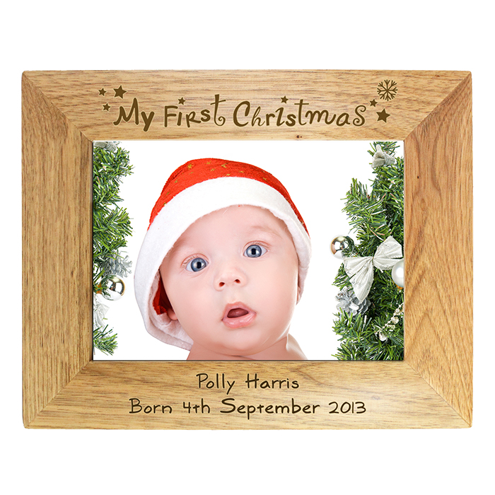 my first christmas wooden frame