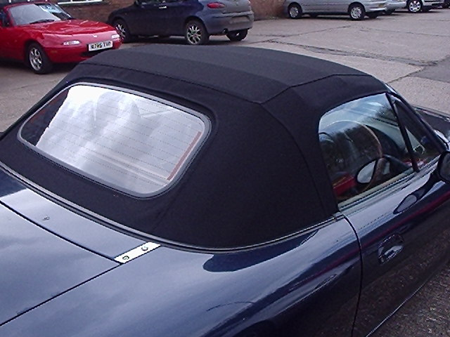 black mohair hood with heated glass screen