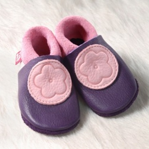 Supersoft Leather Baby Slippers - Anemone