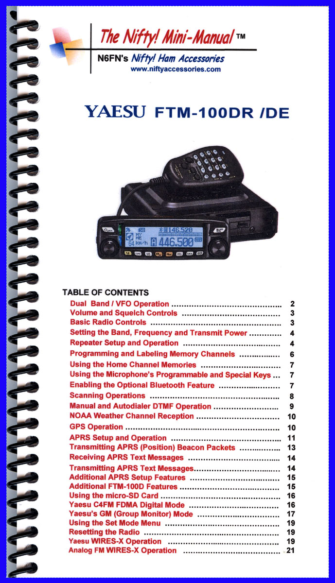 Nifty Mini Manual For Yaesu FTM-100DR-DE