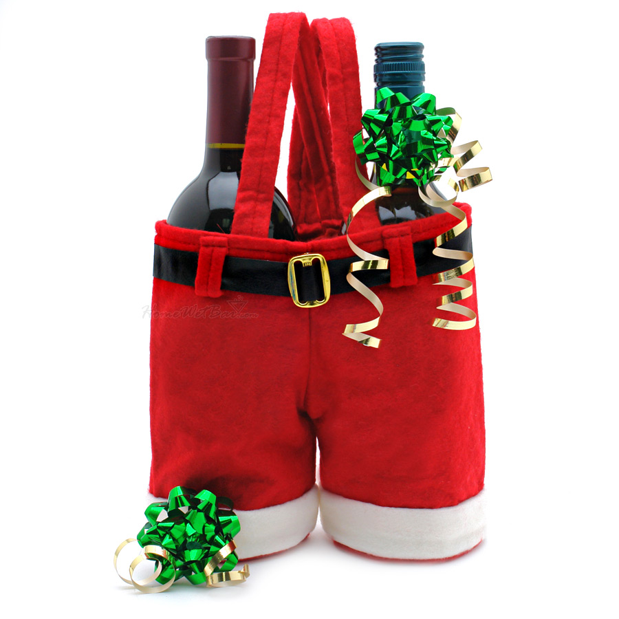 Christmas Santa's Trousers Wine Bottle Holder / Promotional product fully customized  to your requirement UK Supplier