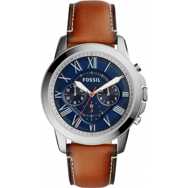 Grant Men's Brown Leather Chronograph Watch with Blue Tinted Dia