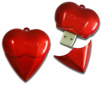 Red Heart USB Memory Stick / Promotional product fully customized  to your requirement UK Supplier