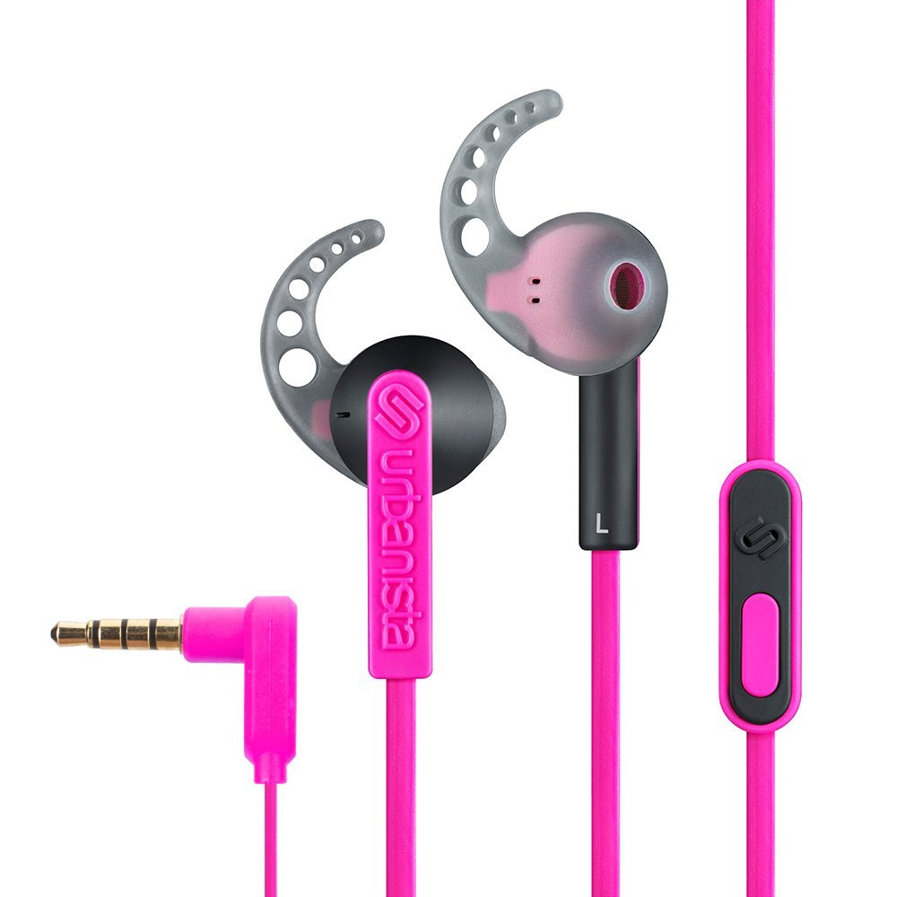 Pink overhead earphones - earphones with radio built in