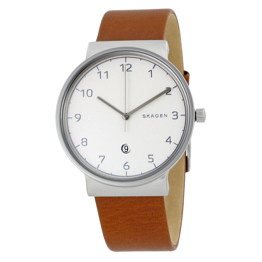 Ancher Men's Silver Casebody Leather Watch / Promotional product