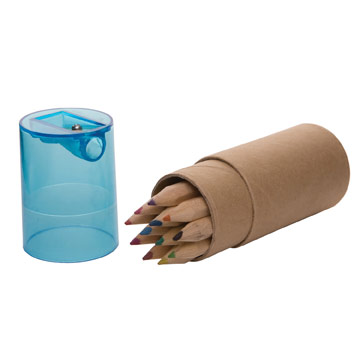 Pencil Crayon Tube with Sharpener / Promotional product fully customized  to your requirement UK Supplier