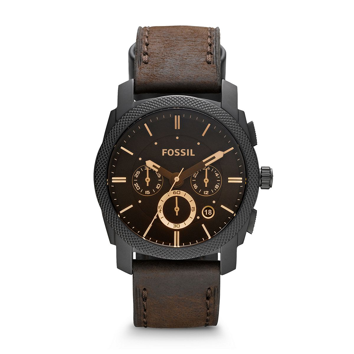 Machine Men's Brown Leather Strap Watch   / Promotional product