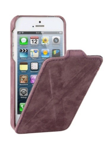Decoded iPhone 5 5S Leather Flip Case Cross Design Purple