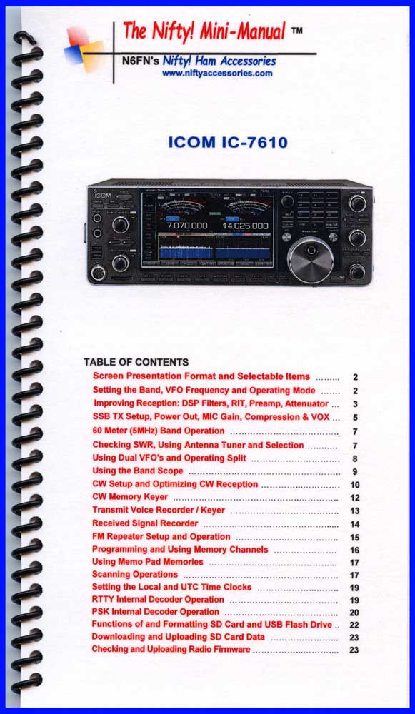 Icom IC-7610 Mini-Manual