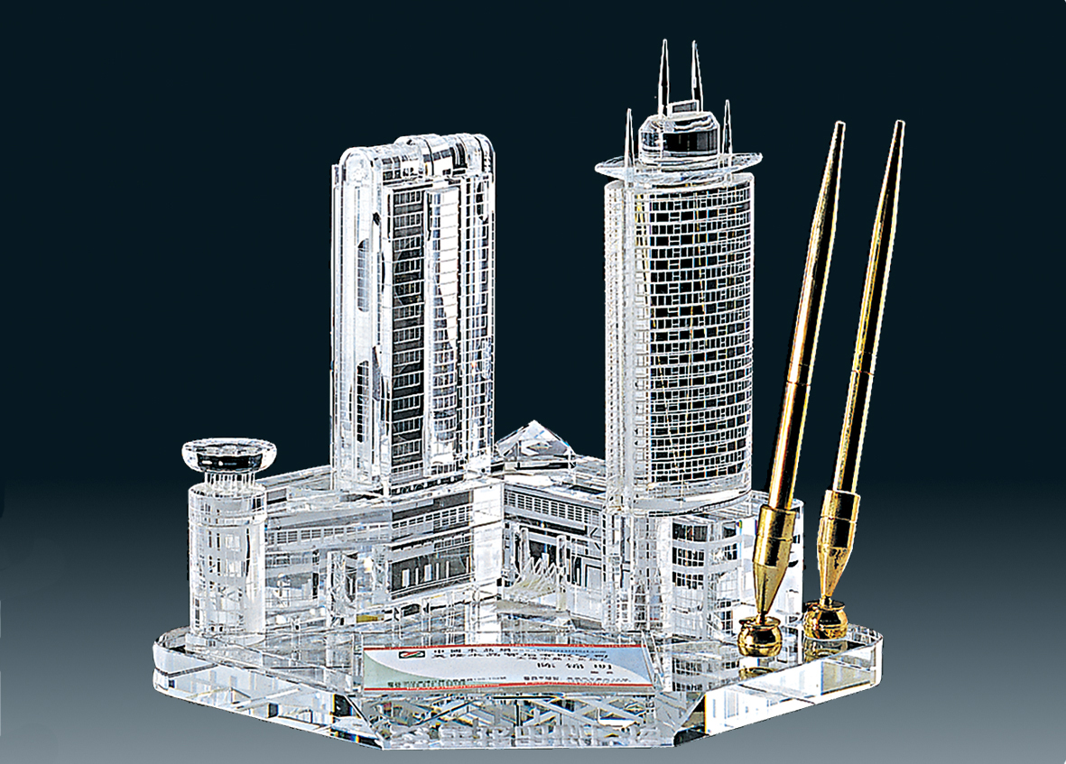 3D Building Crystal Desk Set/ / Promotional product fully customized  to your requirement UK Supplier