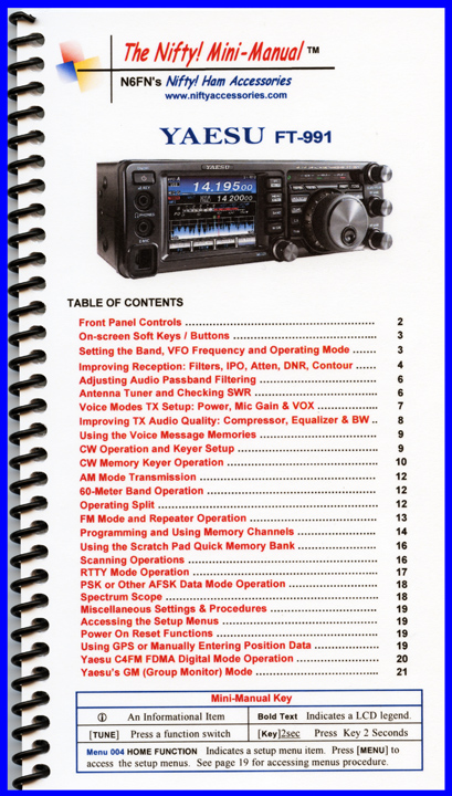 Nifty Yaesu FT-991 Mini-Manual