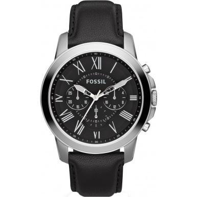 Grant Men's Black Leather Chronograph Watch with Black Dial  / P
