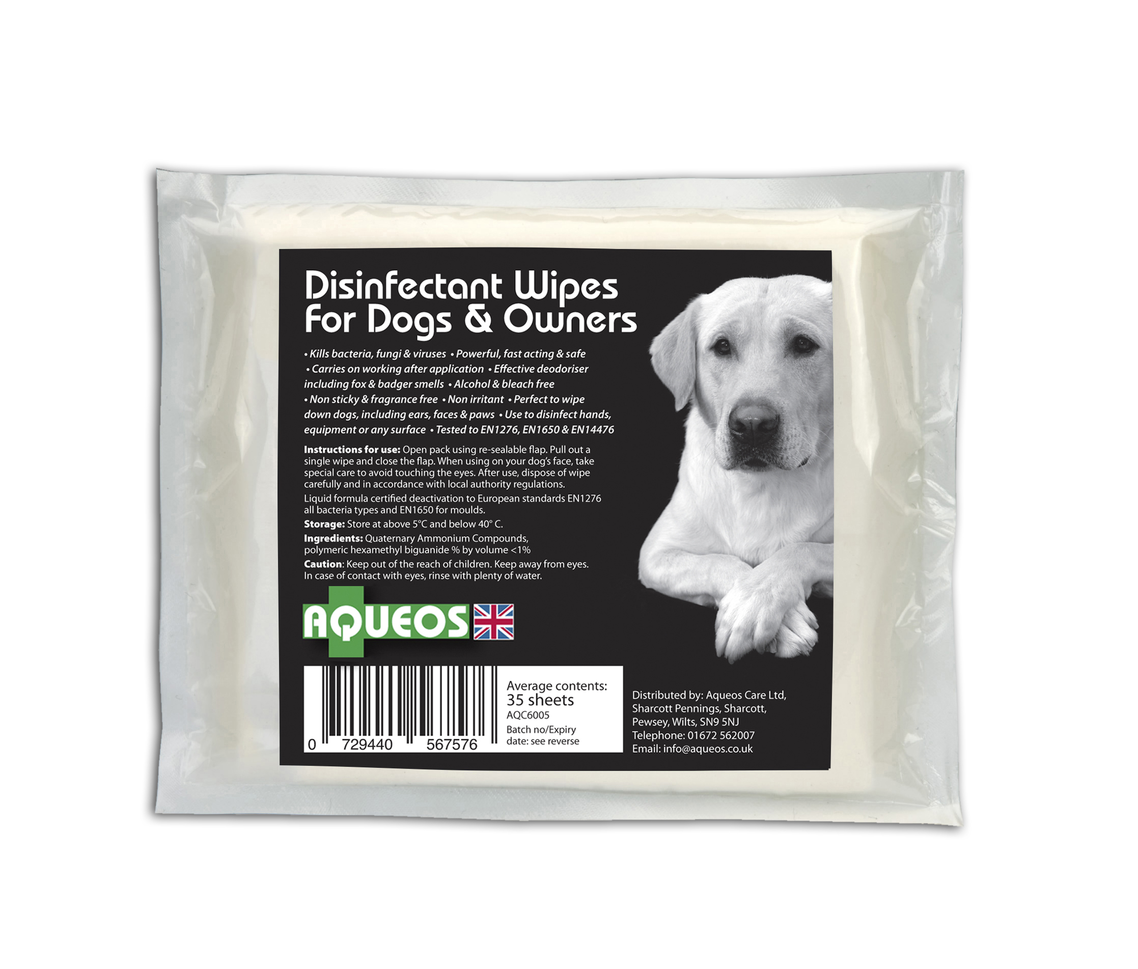 Canine  Disinfectant Wipes Small Pouch AQC6005
