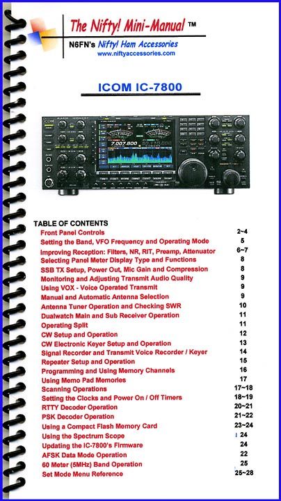 IC-7800 Nifty Mini Manual